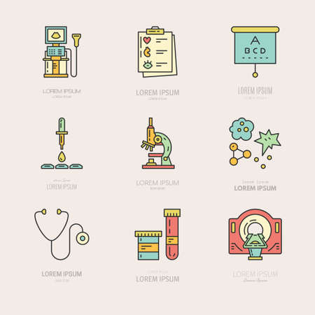 mri scan: Collection of logos with different medical items and machines. Medical research and diagnostic. Label for lab, research center, MRI scan. Illustration