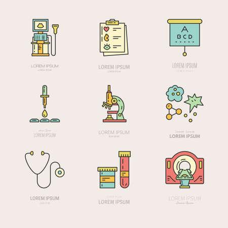 Het verzamelen van logo's met verschillende medische artikelen en machines. Medisch onderzoek en diagnose. Label voor laboratorium, onderzoekscentrum, MRI-scan.