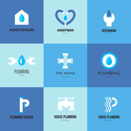 Modern flat style logo collection with plumber, handyman and house repair symbols. Isolated and easy to use logotype for your business. Vettoriali