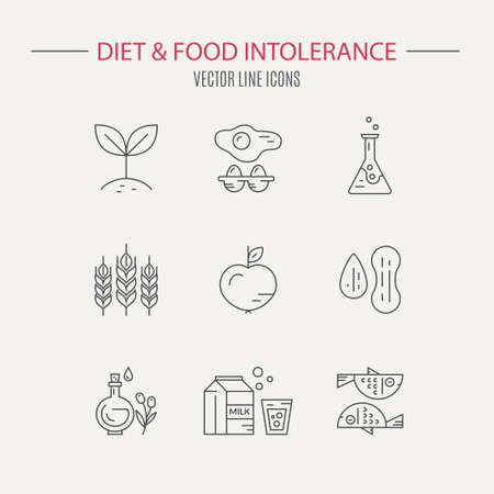 intolerance: Collection of icons with symbols of different diets - vegetarian, gluten free, seafood, lactose free. Vector line style collection. Food intolerance symbol set.
