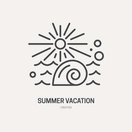 sealife: Line style logotype template with shell, waves and sun. Isolated on background and easy to use. Hello summer concept. Summer vacation and summer travel symbol.