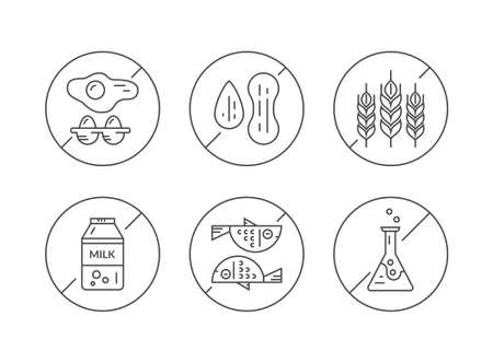 pictogramm: Clean and modern vector line icons with different food allergens in prohibited signs. No eggs, no nuts, no gluten, no lactose, no seafood, no gmo.