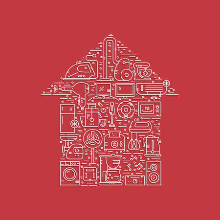mincer: Vector line style concept with different house appliances arranged in a shape of a house. Vector illustration.