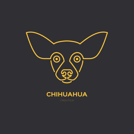 breeder: Portrait of Chihuahua made in modern line style vector. Perfect logo for dog breeder, pet shop, veteriarian clinic or dog training company.