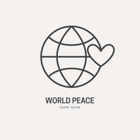 nonprofit: Illustration of a globe with heart - logo for non-profit organization, symbol for fundraising, donation or charity event. Vector line style icon.