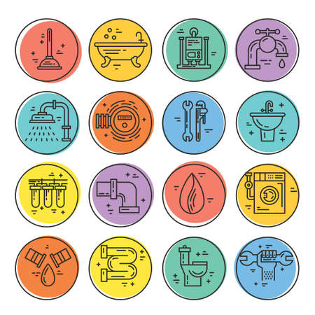 refit: Vector collection of plumbing icons. Plumbing and handyman service symbols made in line style vector. Modern illistrations of pipe, leak, faucet fixing and other repair services.