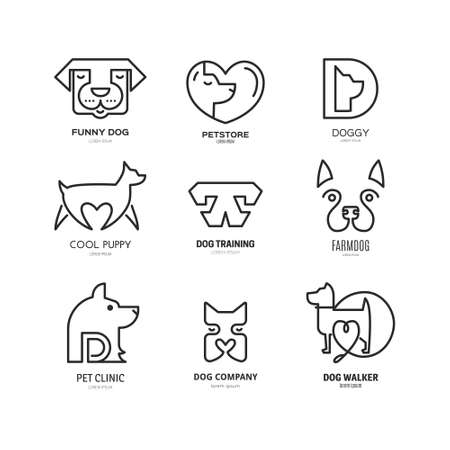 dog walker: Linear collection of dog logos. Labels for veterinarian clinic, dog walkers, pet shop made in modern line style vector. Isolated logotype design for your business. Illustration