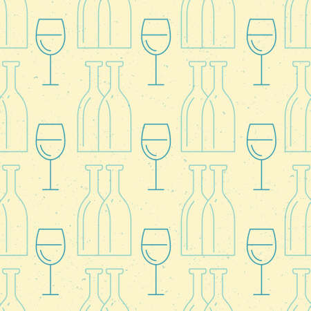 bottle wine: Simple and clean vector seamless background with bottles and glasses made in vector.
