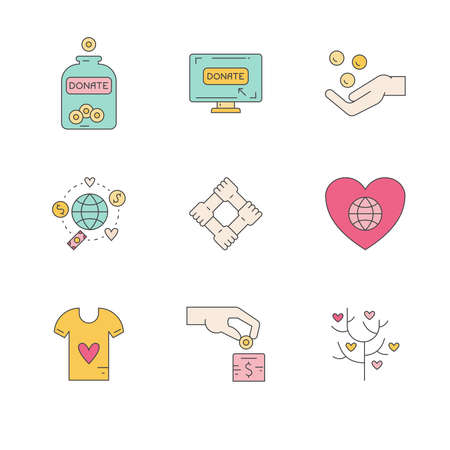 philanthropy: Graphic elements for nonprofit organizations and donation centres. Fundraising symbols made in vector. Crowdfunding project label. Vector line style pictograms. Illustration