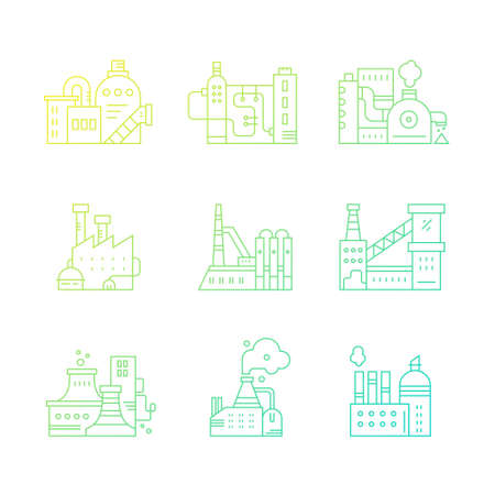 pictogramm: Vector collection of factory buildings.