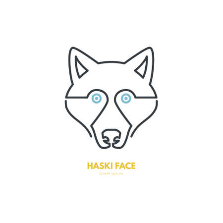 breeder: Portrait of husky made in modern line style vector. Perfect logo for dog breeder, pet shop, veteriarian clinic or dog training company. Illustration