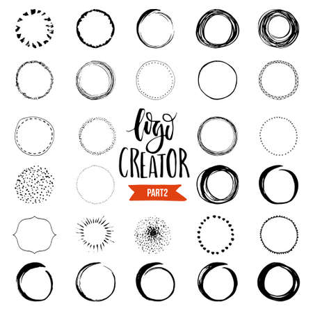 Uniqiue handdrawn shapes for brand identity and logo design isolated on background and easy to use. Hand sketched design elements. Logo creator series.