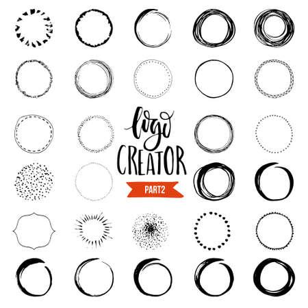 Uniqiue handgetekende vormen voor merkidentiteit en logo-ontwerp geïsoleerd op achtergrond en makkelijk te gebruiken. Hand getekende ontwerp elementen. Logo schepper serie.
