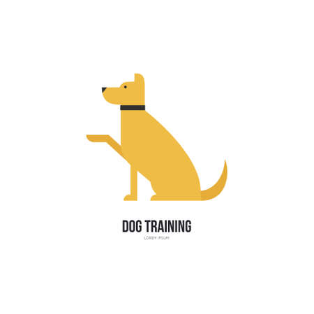 dog walker: Single logo with a dog giving a paw for veterinarian clinic, pet shop, dog walker, dog training. Easy to use and edit. Vector logo series. Illustration