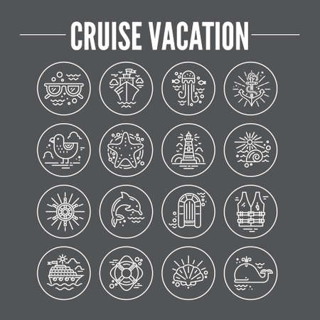 cruise ship: Cruise vacation icons made in trendy line style vector. Summer adventure emblem. Marine symbols. Nautical design elements isolated on background. Labels for maritime company or cruise ship.