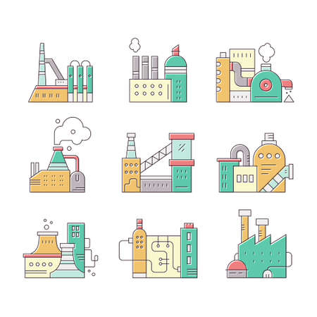 pictogramm: Collection of factory buildings made in vector. Industrial buildings for town map. Illustration