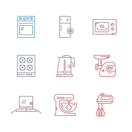 mincer: Vector line collection of house appliances including fridge, mincer, stove, teapot, microwave. House technology. Illustration