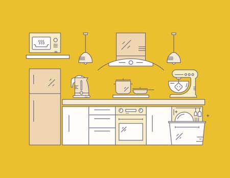 modern kitchen: Modern kitchen on yellow background. House decor concept. Kitchen appliances and modern house illustration.