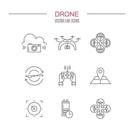 video camera: Icon collection with quadrocopter, hexacopter, multicopter and drone made in vector. Modern vehicles for photography, delivery and military purposes. Technology and innovation symbols. Illustration