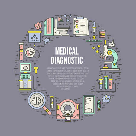 diagnostic: Medical research and healthcare design element. Medical illustration made in line style vector. Modern technology.