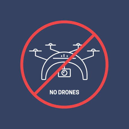 pictogramm: No drones allowed in the area concept. Vector illustration of a drone with prohibited sign. Illustration