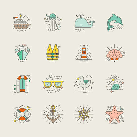 life jacket: Cruise vacation icons made in trendy line style vector. Summer adventure emblem. Marine symbols. Nautical design elements isolated on background. Labels for maritime company or cruise ship.