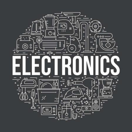 家電・ エレクトロニクスを円形に配置。ギアの掃除機、トースター、ミキサー、食器洗い機、その他の家」。