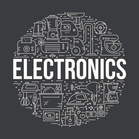 electronic: Home appliances, technology and electronics arranged in a circle. Vacuum cleaner, toaster, mixer, dishwasher and other houe gear.