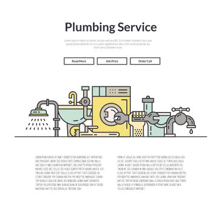 plumb: One page layout for plumbing service web site. Different plumber and house repair services. Hero illustration.