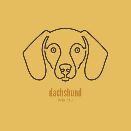 breeder: Portrait of a dachshund made in modern line style vector. Perfect logo for dog breeder, pet shop, veteriarian clinic or dog training company.
