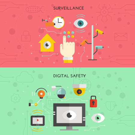 Security or surveillance camera concept. Vector template for banner or flyer with different CCTV elements and video cameras. Video surveillance vector.