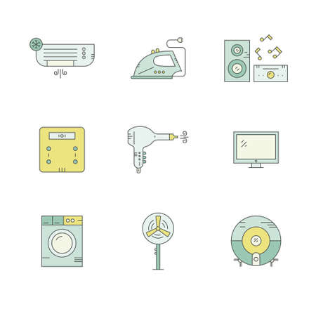 air condition: Collection oflabels with house appliances. House gear icons made in vector. Tv, washing machine, aircondition and other home gear.