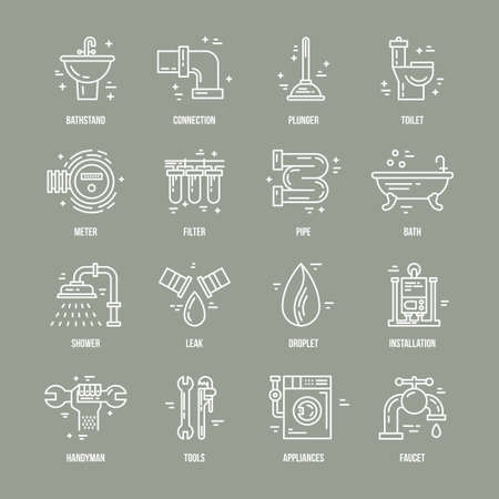 facility: Collection of modern line style icons with different plumbing and house repair symbols with names.
