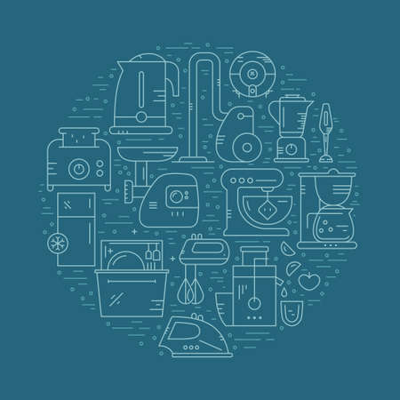 mincer: Vector illustration with house appliances arranged in a circle. Kitchen gear and house technology. Vector line style elements for shop, advertising, banner or flyer. Illustration