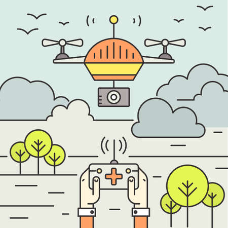 engineering icon: Drone technology - aerial photography and videography by drones - modern vector concept with drone and remote control. Illustration of future technologies and innovation. Illustration
