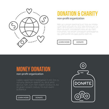 charity work: Banner template with charity and donation icons and symbols. Line style vector illustration. Charity work hro image or web site design for non-profit. Illustration