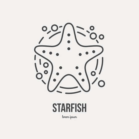 thin shell: Line style logotype template with starfish. Isolated on background and easy to use. Hello summer concept. Summer vacation and summer travel symbol.