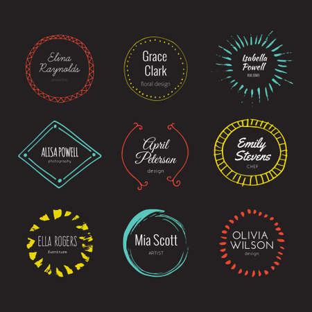 sketched shapes: Hipster logo template collection. Abstract hand sketched shapes for branding design. Real ink texture.