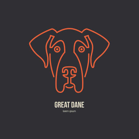 breeder: Portrait of great dane made in modern line style vector. Perfect logo for dog breeder, pet shop, veteriarian clinic or dog training company.