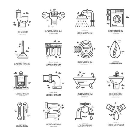 utility: Collection of vector line icons with plumbing symbols. Modern illustrations of leak, pipes, faucet, handyman. Plumbing services. Illustration