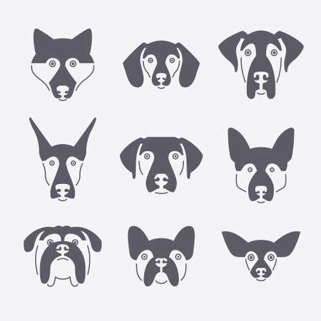 colección de retratos creativos de diferentes razas de perros, incluyendo Sheepherd alemán, labrador, doberman, ronca. Perro se enfrenta. Ilustración moderna de la clínica veterinaria, logotipo criador de perros. Logos