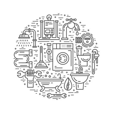 commercial: House plumbing concept. Line style vector illustration. Plumbing services symbols. Illustration