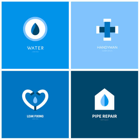 Plumbing collection made in flat style vector Illustration