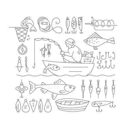 fish rod: Big collection of fishing gear and other fishing related elements made in modern line style vector. Fisherman in the boat catching fish, rod, bobber, tackle and other fishing elements. Illustration