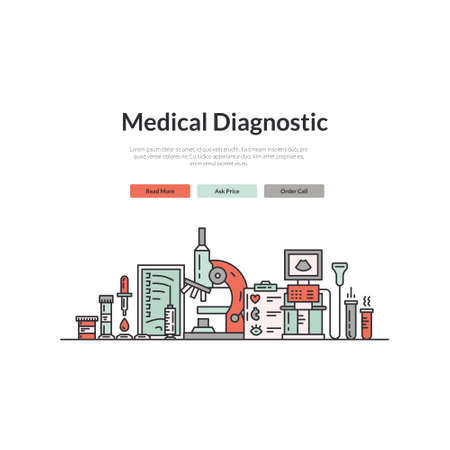 page design: Landing page design template with medical symbols. Website layout for research lab, hospital or check-up center. Hero image concept for medical site.