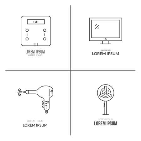 KITCHEN APPLIANCES: Collection of modern line style vector house gear - kitchen appliances and house technology. Illustration