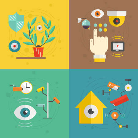 ourdoor: CCTV and security cameras made in flat style. Monitored area concept. Modern vector  isolated on background and easy to use. CCTV design.