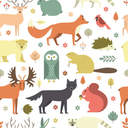 wold: Pattern with forest animals mae in flat style. Fox, bear, wold, squirrel and other mammals on seamless background. Nature and animals pattern. Illustration