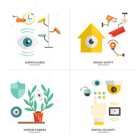 CCTV and security cameras made in flat style. Monitored area concept. Modern vector isolated on background and easy to use. CCTV design. Vector Illustration