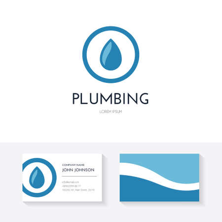 refit: Business identity collection with business card and logo made in modern flat style vector for plumbing company or handyman. Illustration